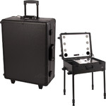 All Black Professional Rolling Studio Makeup Case With Touchscreen Power Cool Led Lights Multimedia Speakers Legs & Mirror (C6252PPAB)