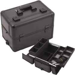 All Black Interchangeable Easy Slide & Extendable Tray Professional Aluminum Cosmetic Makeup Case With Dividers (E3302PPAB)