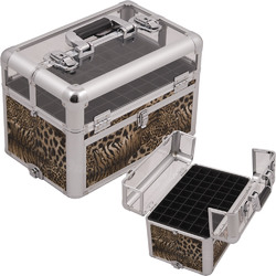 Brown Interchangeable Leopard Printing Texture Professional Aluminum Cosmetic Makeup Nail Clear View Case With Foundation Holder & Dividers (E3310LPBR)
