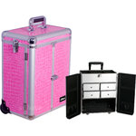 Pink Interchangeable Crocodile Textured Printing Professional Rolling Aluminum Cosmetic Makeup Case French Door Opening With Split Drawers (E6305CRPK)