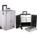 Silver Interchangeable Diamond Pattern Professional Rolling Aluminum Cosmetic Makeup Case French Door Opening With Split Drawers (E6305DMSL)