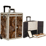 Brown Interchangeable Leopard Textured Printing Professional Rolling Aluminum Cosmetic Makeup Case French Door Opening With Split Drawers (E6305LPBR)