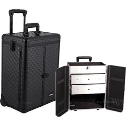 Black Diamond Pattern Interchangeable Professional Rolling Aluminum Cosmetic Makeup Case French Door Opening With Large Drawers (E6306DMAB)