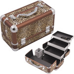 Leopard Printing Texture 3-Tiers Extendable Trays Professional Cosmetic Makeup Train Case With Brush Holder (HK3101LPBR)