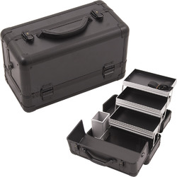Black Smooth Pattern 3-Tiers Extendable Trays Professional Cosmetic Makeup Train Case With Brush Holder (HK3101PPAB)