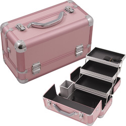Pink Smooth Pattern 3-Tiers Extendable Trays Professional Cosmetic Makeup Train Case With Brush Holder (HK3101PPPK)