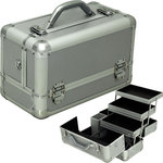 Silver Smooth Pattern 3-Tiers Extendable Trays Professional Cosmetic Makeup Train Case With Brush Holder (HK3101PPSL)