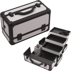 White Smooth Pattern 3-Tiers Extendable Trays Professional Cosmetic Makeup Train Case With Brush Holder (HK3101PPWB)