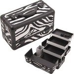 Zebra White Printing Texture 3-Tiers Extendable Trays Professional Cosmetic Makeup Train Case With Brush Holder (HK3101ZBWB)