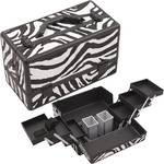 Zebra White Printing Texture 3-Tiers Accordion Trays Professional Cosmetic Makeup Train Case With Two Brush Holder (HK3201ZBWB)