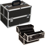 Hiker Black Dot 4-Tiers Extendable Trays Professional Cosmetic Makeup Case With Dividers (HK3501DTBK)