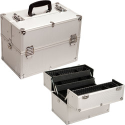 Hiker Silver Dot 4-Tiers Extendable Trays Professional Cosmetic Makeup Case With Dividers (HK3501DTSL)