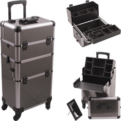 Gun Metal Smooth Pattern 4-Wheels Professional Rolling Aluminum Cosmetic Makeup Case And Easy-Slide & Extendable Trays With Dividers (HK6501ASBY)