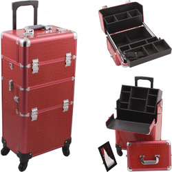 Red Crocodile Printing Texture 4-Wheels Professional Rolling Aluminum Cosmetic Makeup Case And Easy-Slide & Extendable Trays With Dividers (HK6501CRRD)