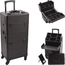 Black Smooth Pattern 4-Wheels Professional Rolling Aluminum Cosmetic Makeup Case And Easy-Slide & Extendable Trays With Dividers (HK6501PPAB)