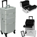 Silver Smooth Pattern 4-Wheels Professional Rolling Aluminum Cosmetic Makeup Case And Easy-Slide & Extendable Trays With Dividers (HK6501PPSL)