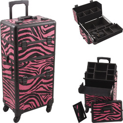 Zebra Hot Pink Printing Texture 4-Wheels Professional Rolling Aluminum Cosmetic Makeup Case And Easy-Slide & Extendable Trays With Dividers (HK6501ZBPB)