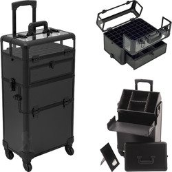 Black Smooth 4-Wheels Professional Rolling Aluminum Cosmetic Makeup Nail Artist Case Foundation Holder With Clear Panel And Removable Tray With Dividers (HK6502PPAB)