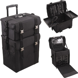 2-In-1 All Black Soft_Sided Professional Rolling Makeup Case With Drawers & Clear Bags (HK6701NLAB)