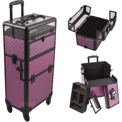 Purple Diamond Pattern 4-Wheels Professional Rolling Aluminum Cosmetic Makeup Case And Nail Case With Clear Panel Foundation Holder & Dividers (I31061DMPLB)