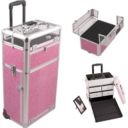 Pink Crocodile Printing Texture Professional Rolling Aluminum Cosmetic Makeup Case With Split Drawers And Nail Case With Clear Panel Foundation Holder & Dividers (I31062CRPK)