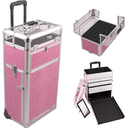 Pink Crocodile Printing Texture Professional Rolling Aluminum Cosmetic Makeup Case With Large Drawers And Nail Case With Clear Panel Foundation Holder & Dividers (I31063CRPK)