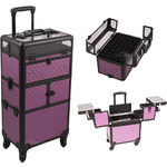 Purple Diamond Pattern 3-Tiers Accordion Trays 4-Wheels Professional Rolling Aluminum Cosmetic Makeup Case And Nail Case With Clear Panel Foundation Holder & Dividers (I31064DMPLB)