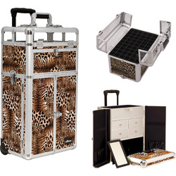 Leopard Printing Texture Professional Rolling Aluminum Cosmetic Makeup Case French Door Style With Split Drawers And Nail Case With Clear Panel Foundation Holder & Dividers (I31065LPBR)
