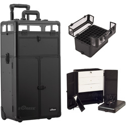 Black Smooth Professional Rolling Aluminum Cosmetic Makeup Case French Door Style With Large Drawers And Nail Case With Clear Panel Foundation Holder & Dividers (I31066PPAB)