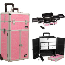 Pink Crocodile Printing Texture Professional Rolling Aluminum Cosmetic Makeup Case French Door Style With Split Drawers And Easy-Slide Trays (I3165CRPK)