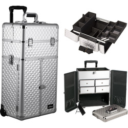 Silver Diamond Professional Rolling Aluminum Cosmetic Makeup Case French Door Opening With Split Drawers And Easy-Slide And Extendable Trays With Dividers (I3265DMSL)