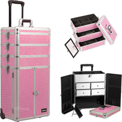 Pink Crocodile Printing Texture Professional Rolling Aluminum Cosmetic Makeup Case French Door Opening With Split Drawers And Stackable Trays With Dividers (I3365CRPK)