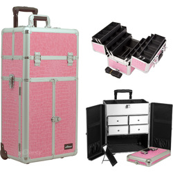 Pink Crocodile Printing Texture Professional Rolling Aluminum Cosmetic Makeup French Door Opening Case With Split Drawers And 6-Tiers Extendable Trays With Dividers (I3465CRPK)
