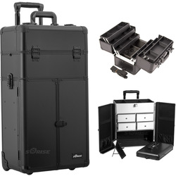 Black Smooth Professional Rolling Aluminum Cosmetic Makeup French Door Opening Case With Split Drawers And 6-Tiers Extendable Trays With Dividers (I3465PPAB)