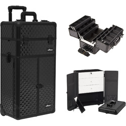 Black Diamond Professional Rolling Aluminum Cosmetic Makeup French Door Opening Case With Large Drawers And 6-Tiers Extendable Trays With Dividers (I3466DMAB)