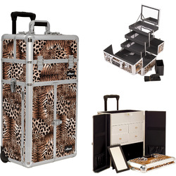 Leopard Printing Texture Professional Rolling Aluminum Cosmetic Makeup French Door Opening Case With Split Drawers Extendable Trays And Brush Holder (I3565LPBR)