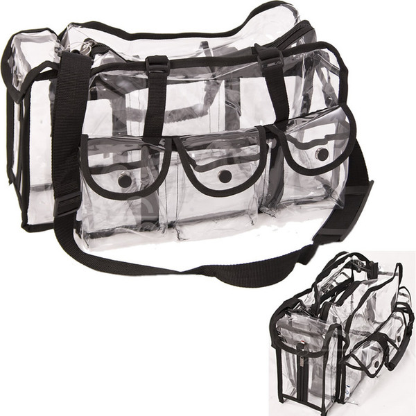Large Carry Clear Set Bag With 6 External Pockets Tissue Holder And Shoulder Strap (PC01BK)