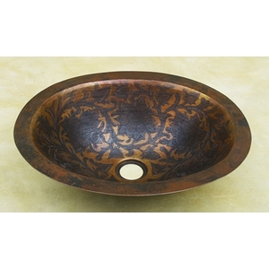 Copper Oval-Baroque Sink by Pure Spa Copper Elements