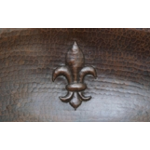 Copper Bath Oval-Fleur De Lis Sink by Pure Spa Copper Elements