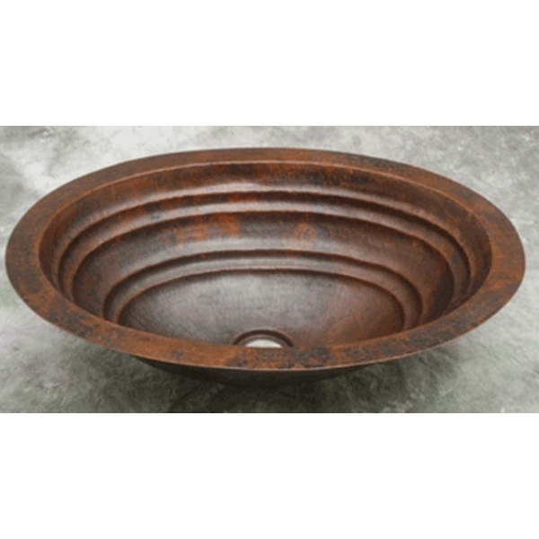 Copper Bath Oval-Ripple Sink by Pure Spa Copper Elements