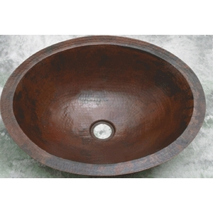 Copper Bath Wide Oval Lavatory Sink by Pure Spa Copper Elements