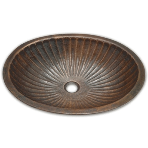 Copper Bath Oval Sink-Ribbed Sink by Pure Spa Copper Elements