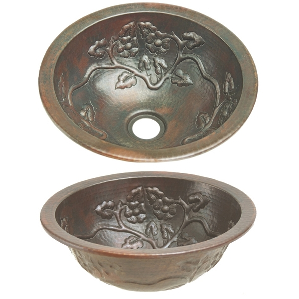 Copper Bath Round-Floral Vine Sink by Pure Spa Copper Elements