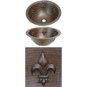 Copper Bath Round Sink-Feur de Lis by Pure Spa Copper Elements