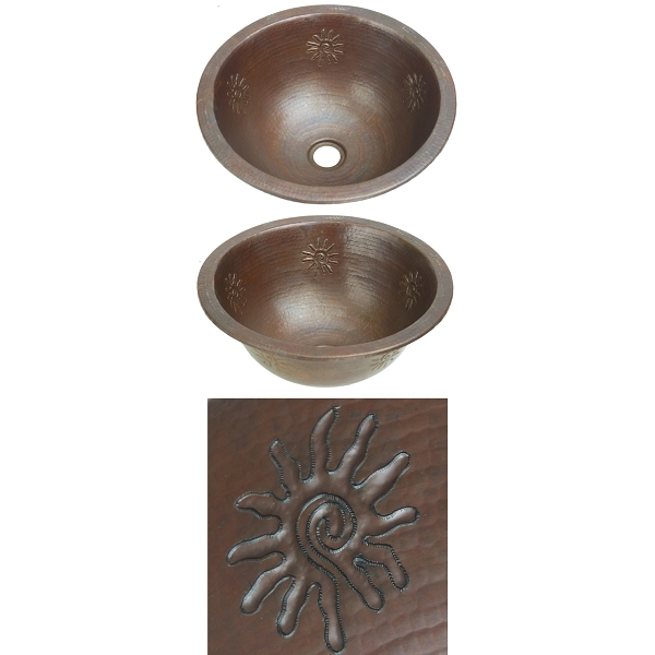 Copper Bath Round Lav-Infinity Sun by Pure Spa Copper Elements