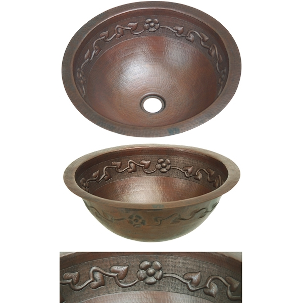Copper Bath Round-Floral Sink by Pure Spa Copper Elements
