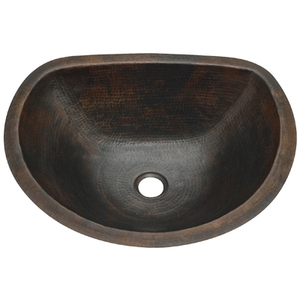 Copper Bath Lav Sink Flat Back D by Pure Spa Copper Elements