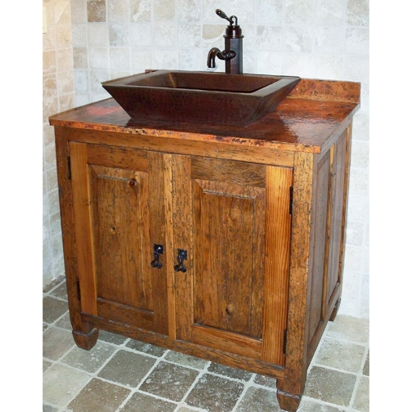 Rustic Vanity with Copper Top by Pure Spa Copper Elements