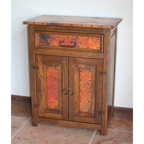Small Rustic Vanity with Copper Accents by Pure Spa Copper Elements
