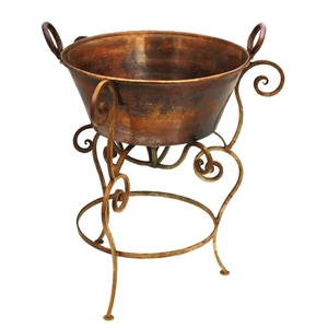 Copper Cazo with Handles and Wrought Iron Stand by Pure Spa Copper Elements